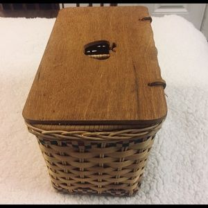 Basket Organizer with Wooden Cover